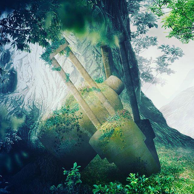 ファンタジーの世界。Photoshopでのレタッチ。6時間ぐらいかかった。ゴーレムは、植木鉢-2枚目で作っています。木々は全て素材画像から切抜き配置してる。これの元は、ニーアオートマタです。 - from Instagram