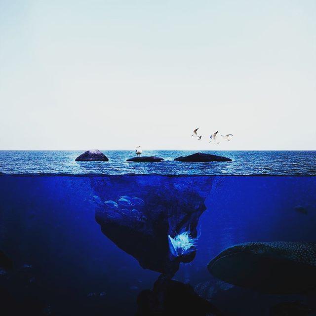 海の写真を撮って、海中をレタッチ。 - from Instagram